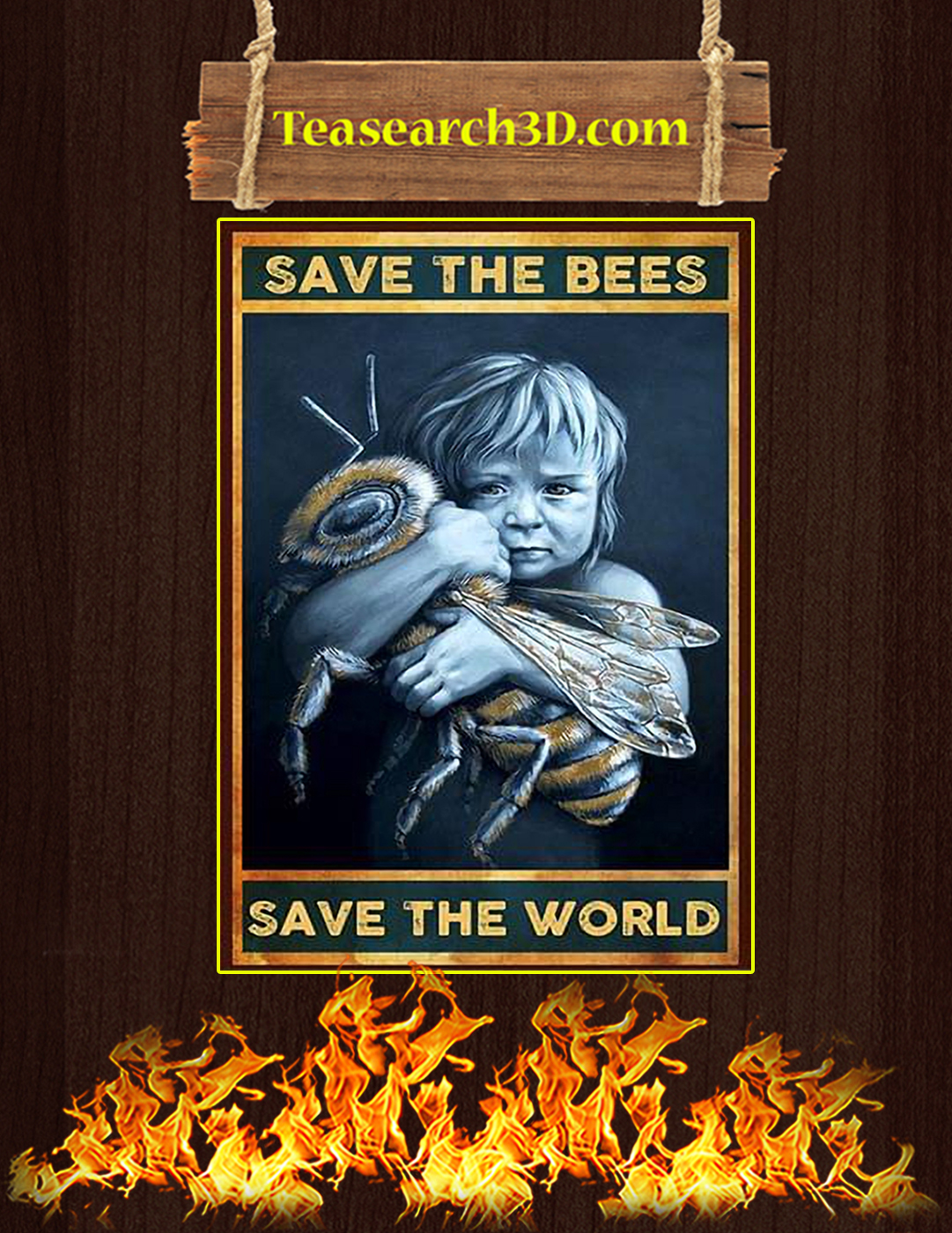 Save the bees save the world poster A2
