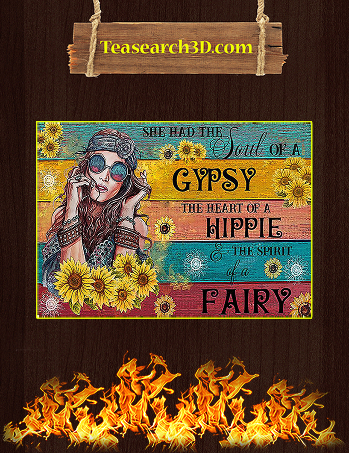 She had the soul of a gyspy the heart of a hippie poster A3