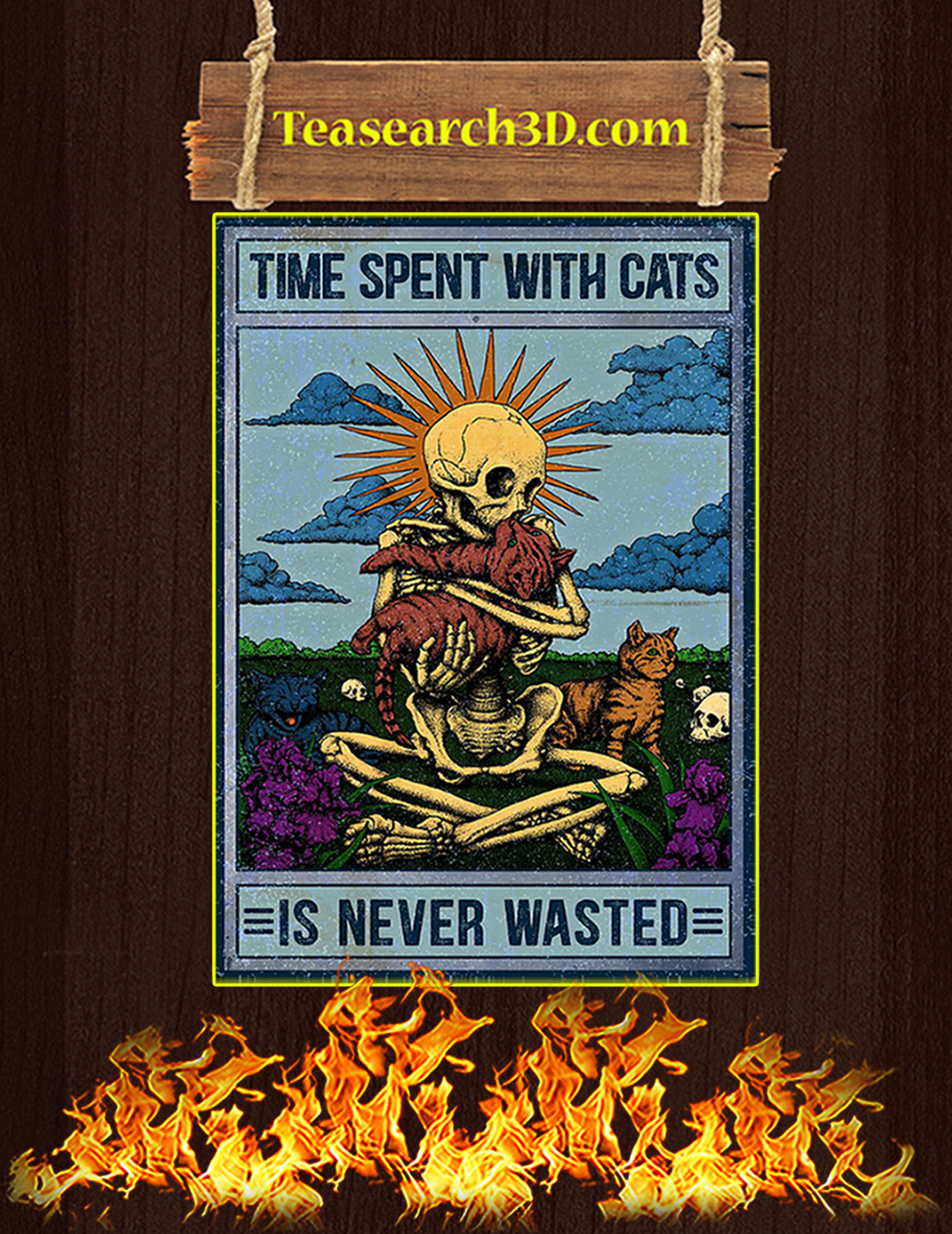 Skeleton time spent with cats is never wasted poster A2