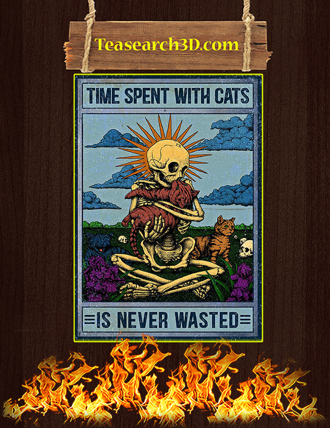 Skeleton time spent with cats is never wasted poster A3