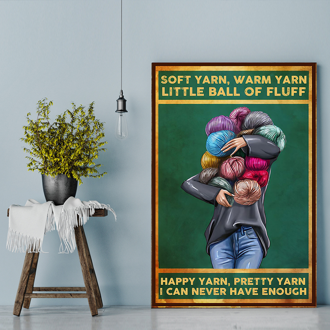 Soft yarn warm yarn little ball of fluff poster A3