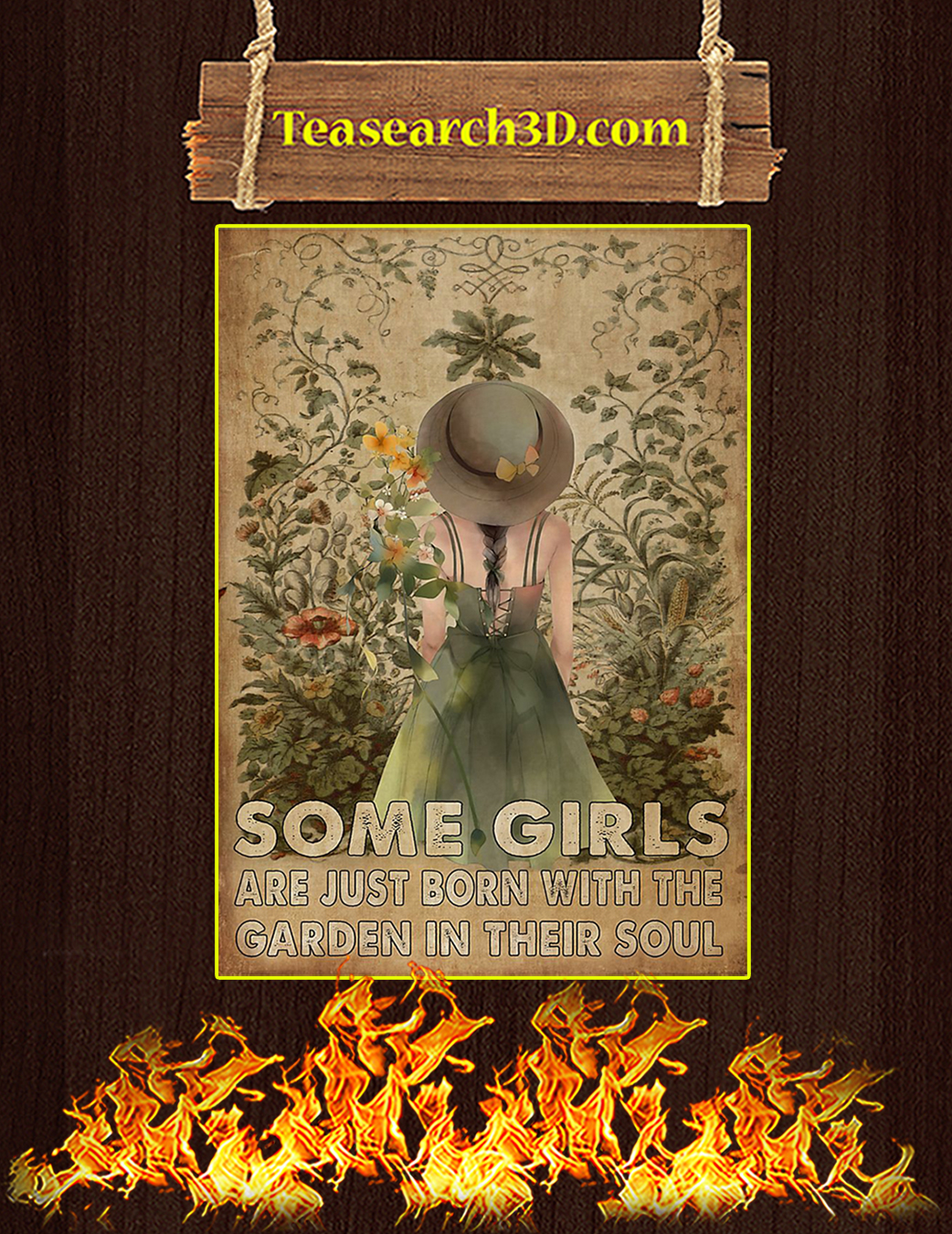 Some girls are just born with garden in their soul poster A1