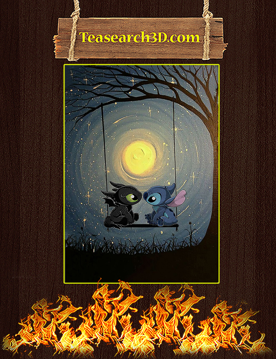 Stitch and toothless talking to the moon poster A3
