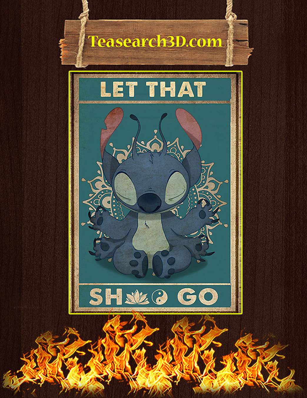 Stitch yoga let that shit go poster A1