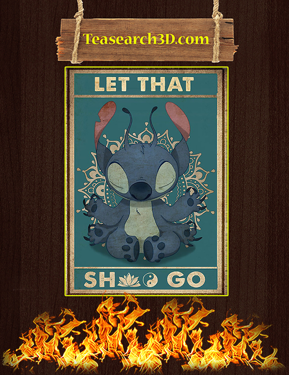 Stitch yoga let that shit go poster A3