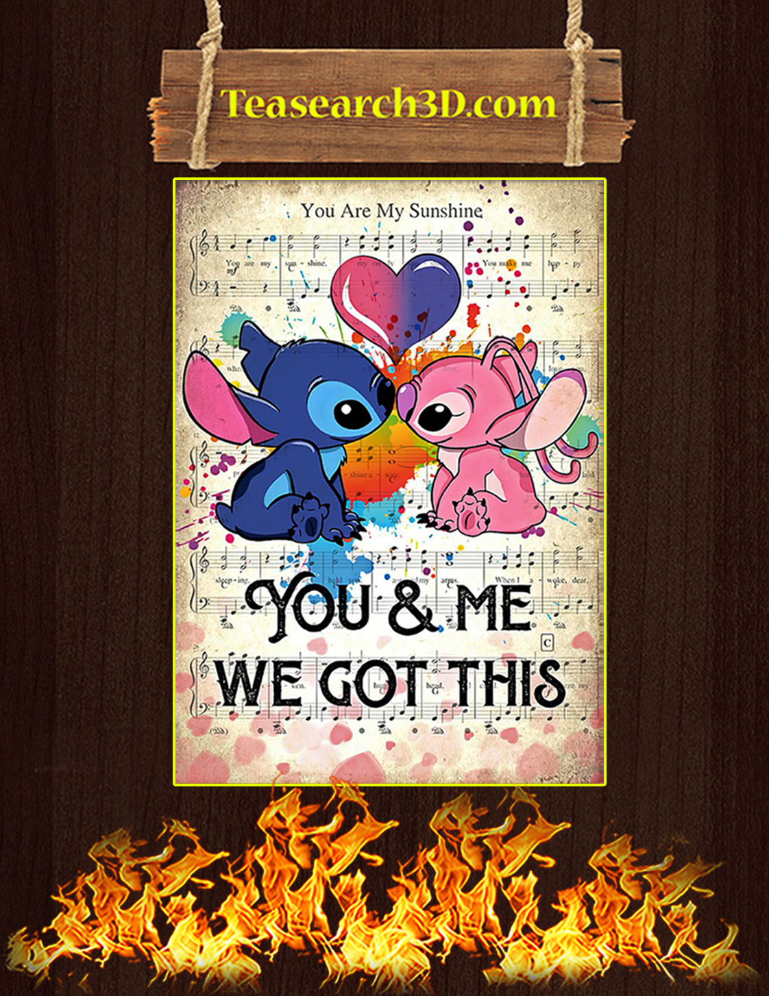 Stitch you and me we got this poster A3