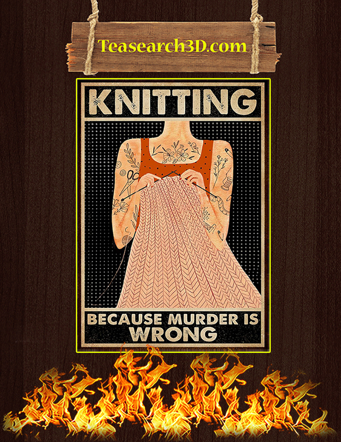 Tattoo girl knitting because murder is wrong poster A2