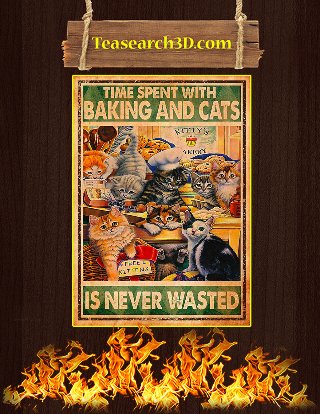 Time spent with baking and cats is never wasted poster A1