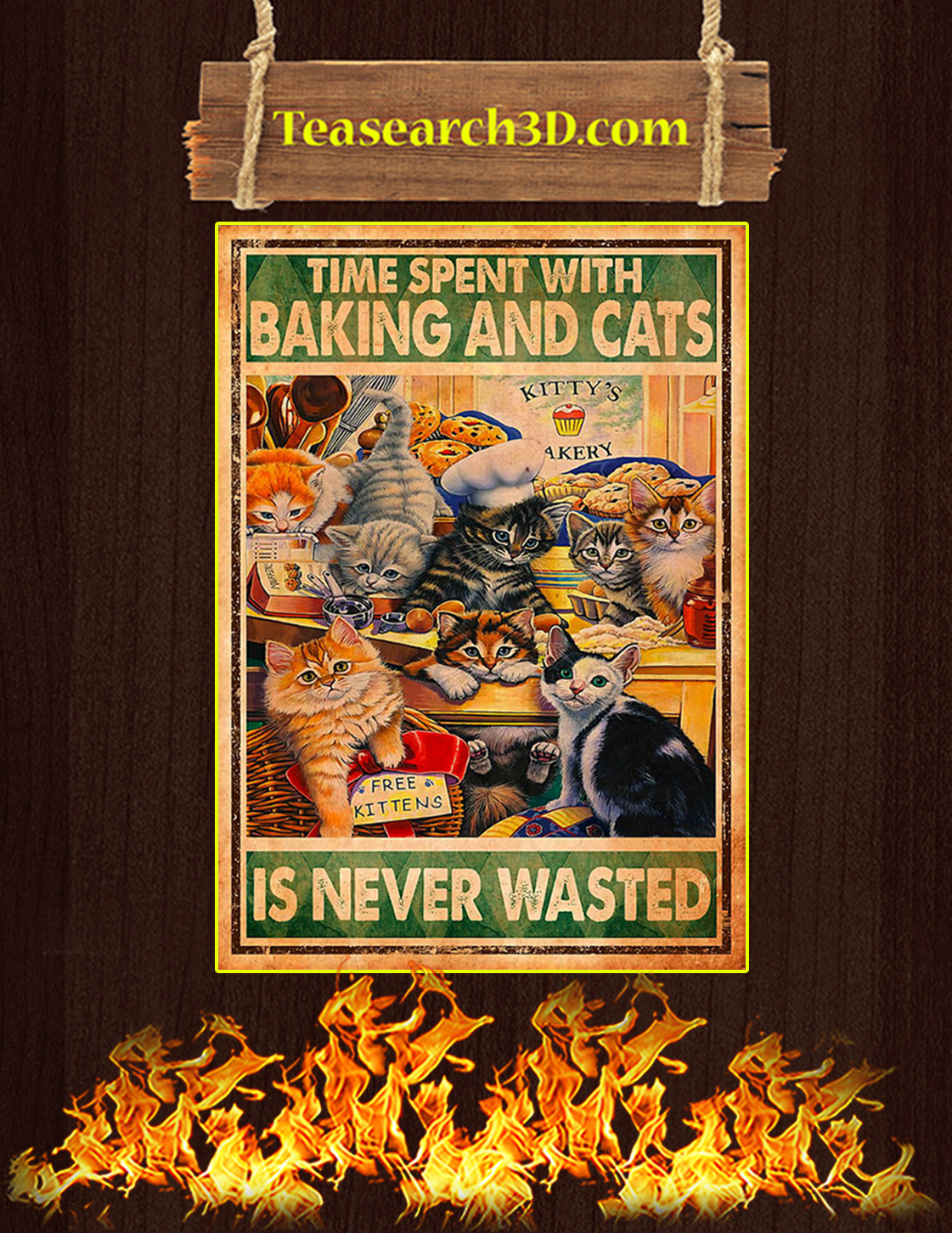 Time spent with baking and cats is never wasted poster A3