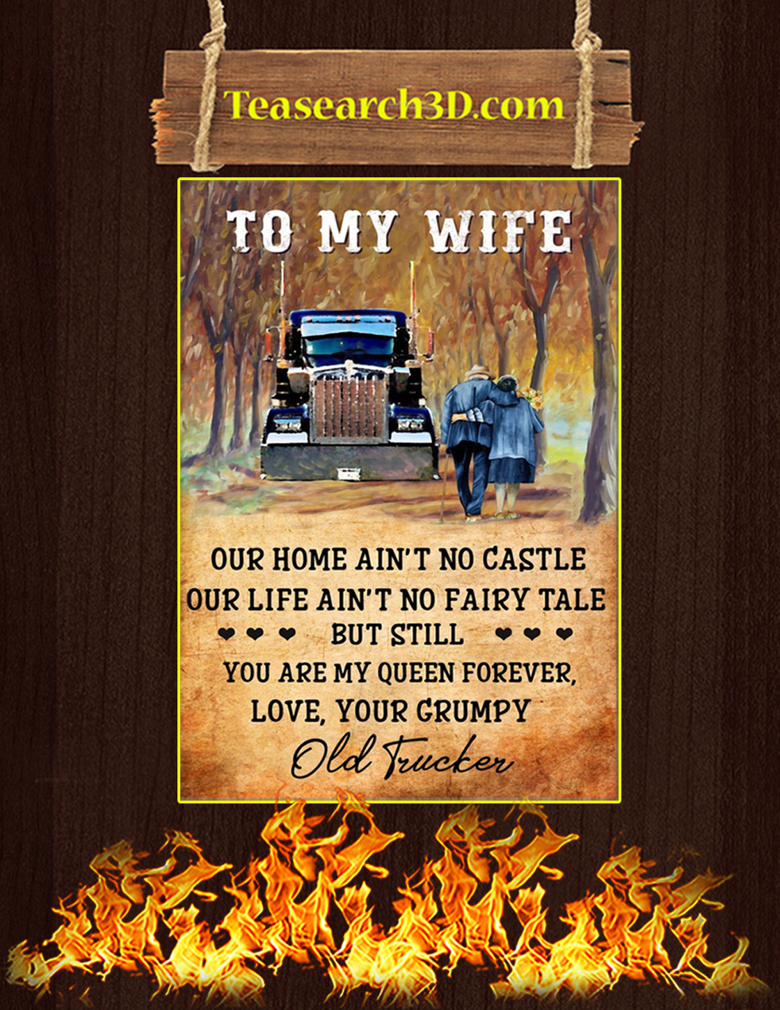 Trucker couple to my wife poster A3