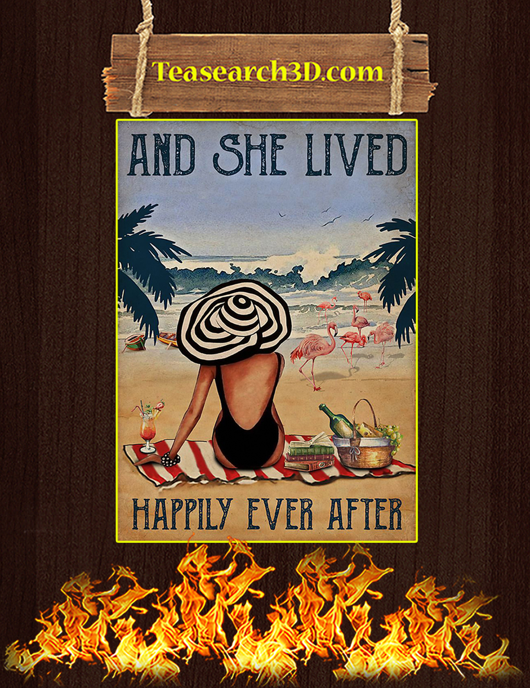 Vintage beach flamingo and she lived happily ever after poster A1