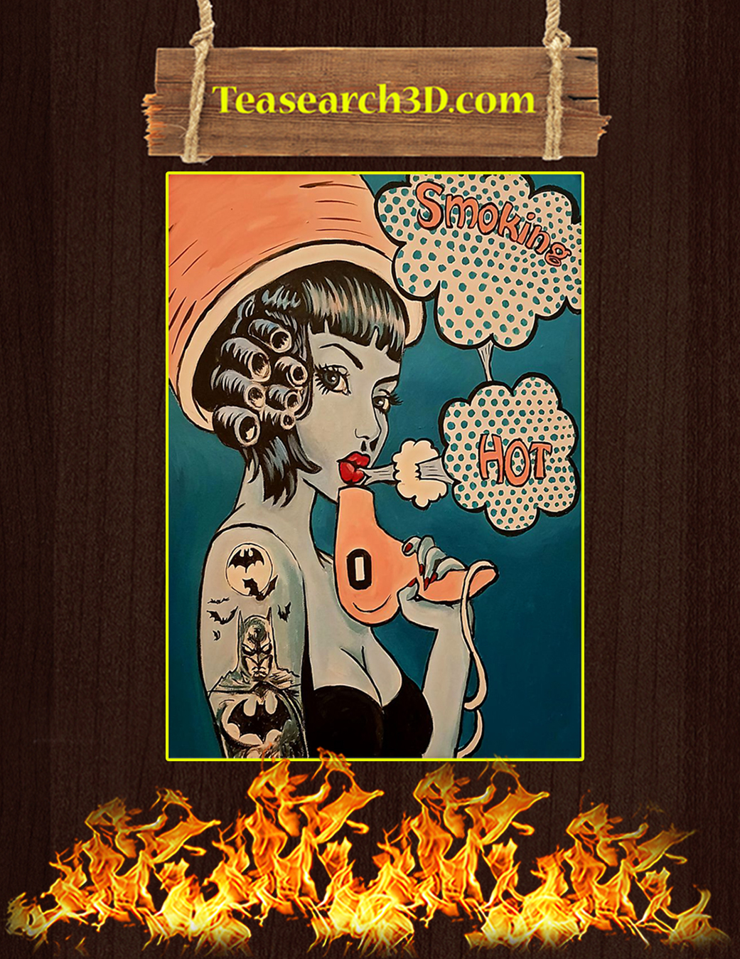 Vintage retro hairdresser smoking hot poster A1