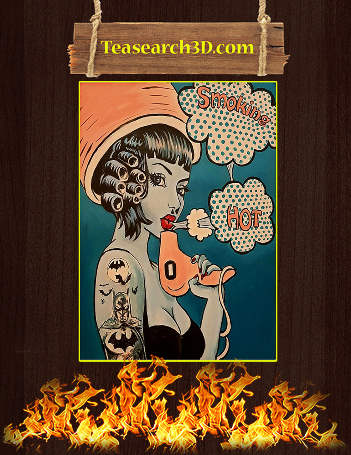 Vintage retro hairdresser smoking hot poster A3