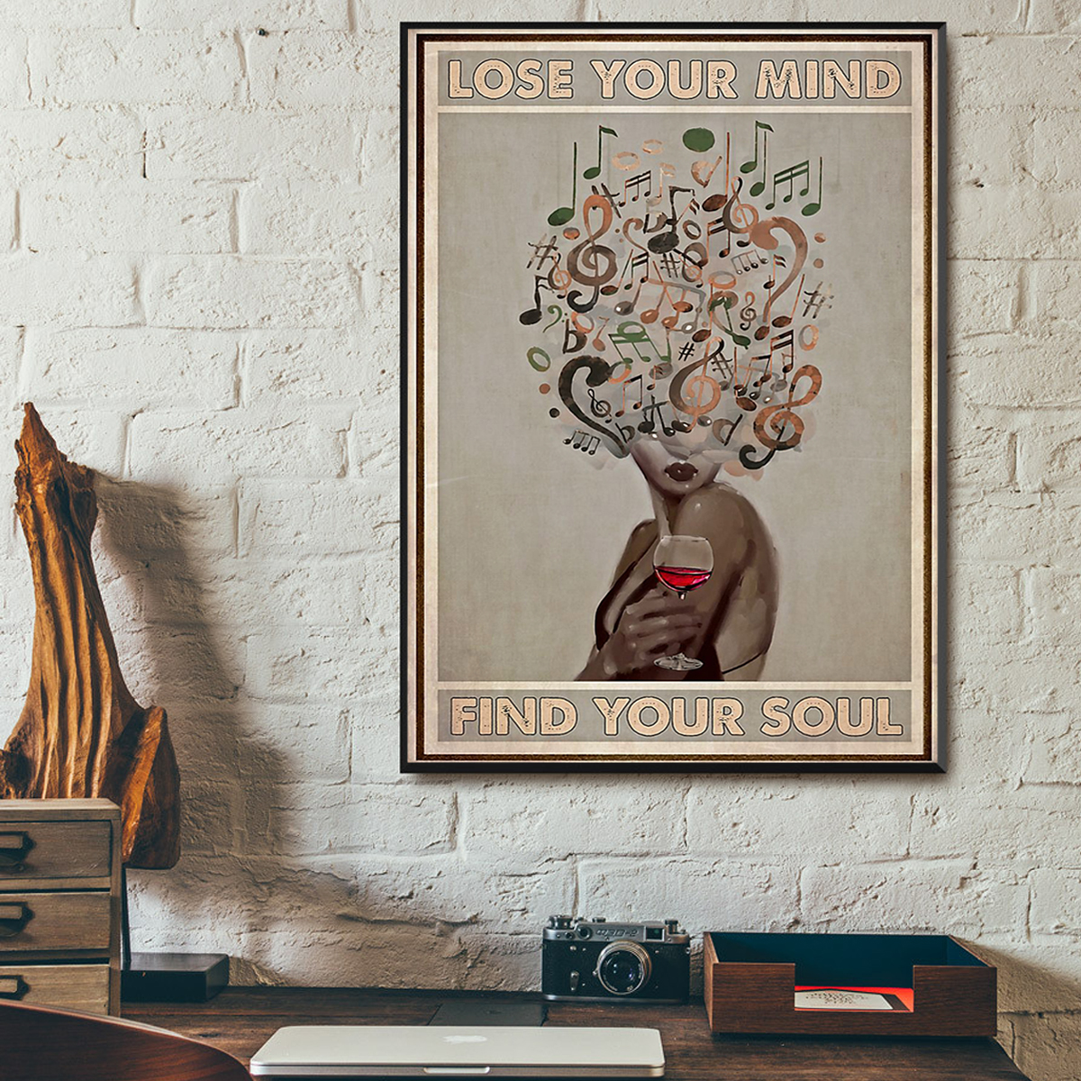 Vinyl and wine lose your mind find your soul poster A2