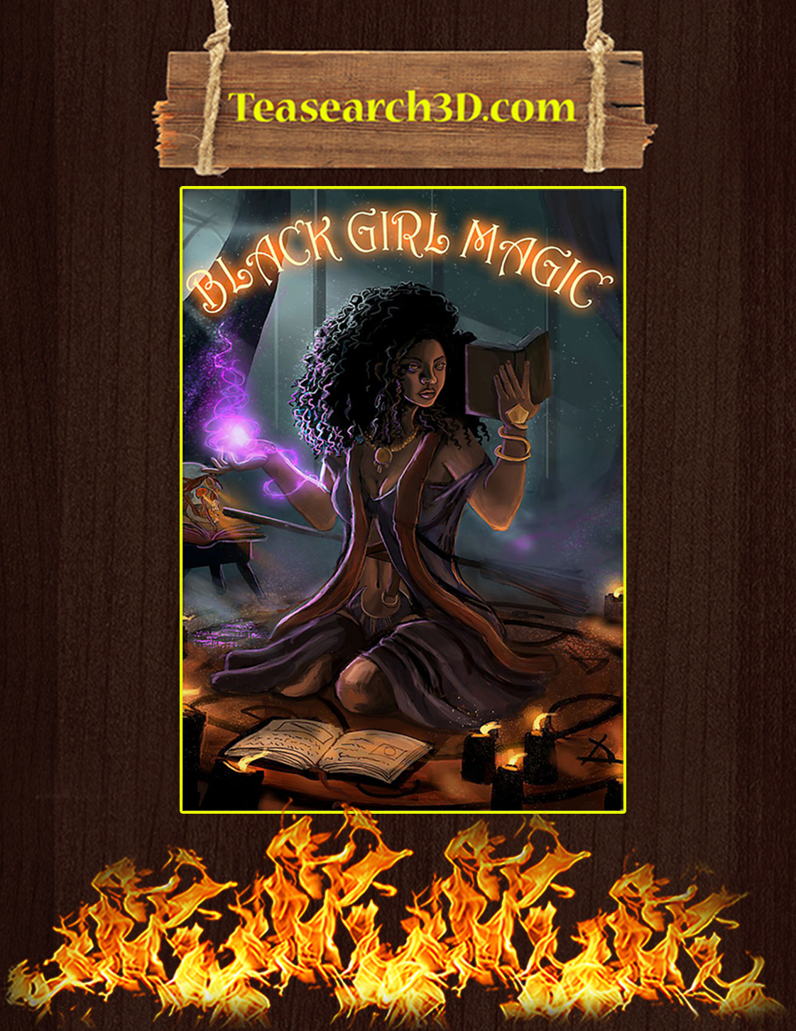 Witch black girl magic poster A3