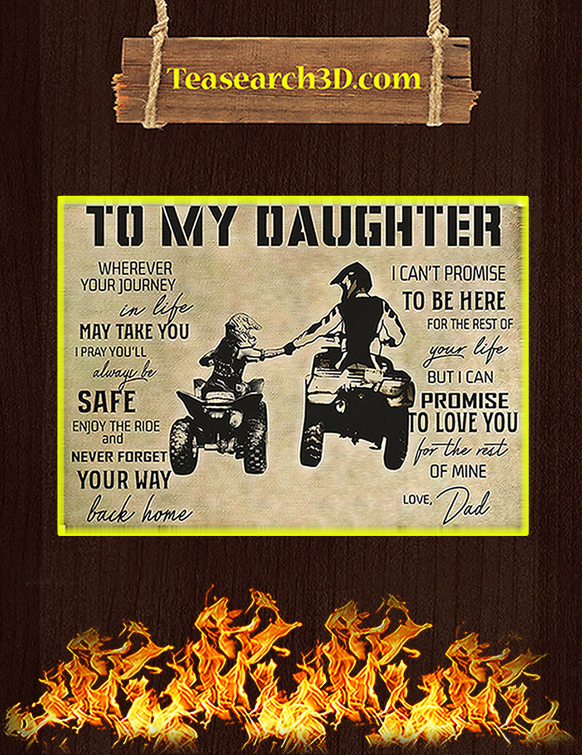 All-terrain vehicle atv to my daughter love dad poster A3