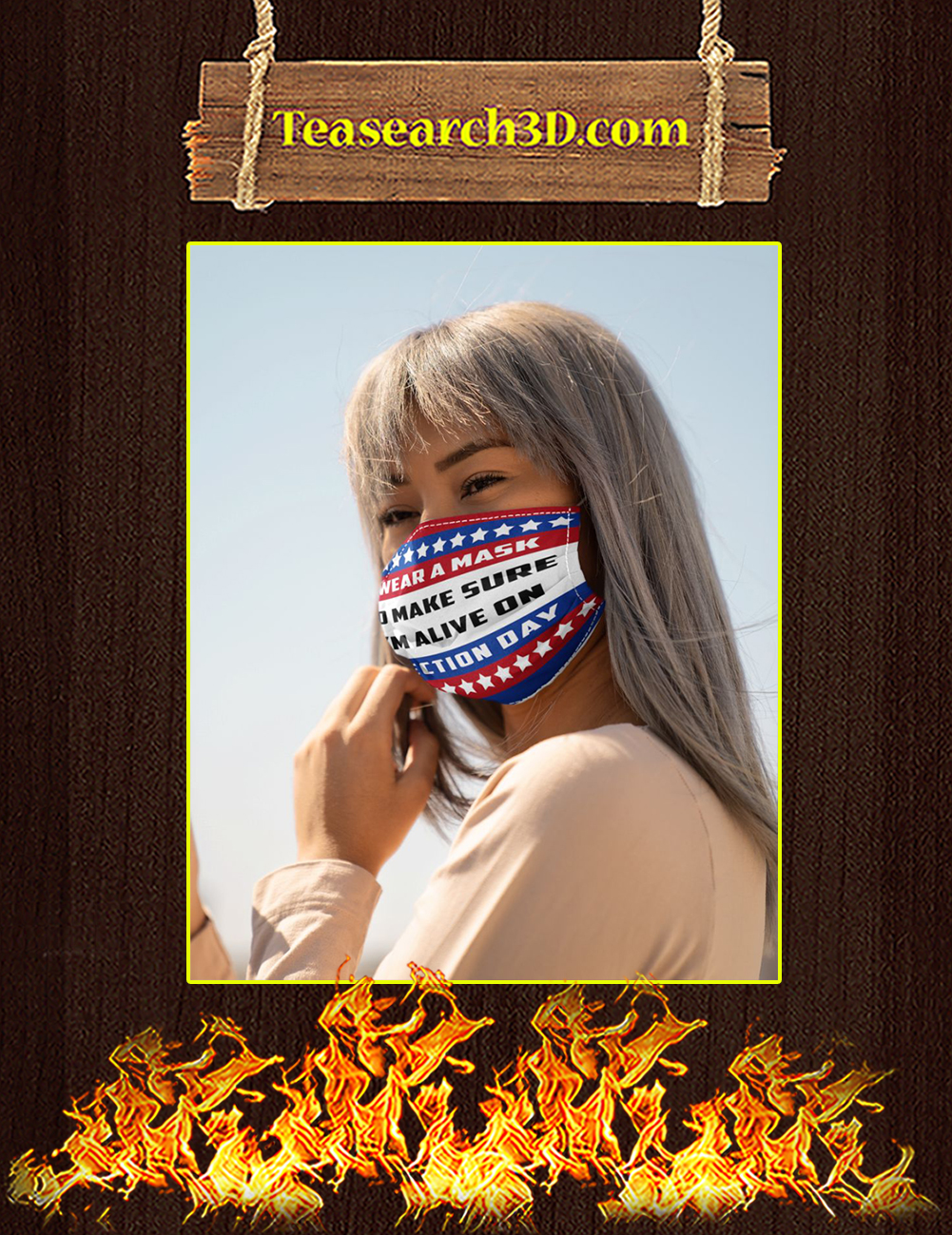 American flag I wear a mask to make sure I'm alive on election day face mask pack 3