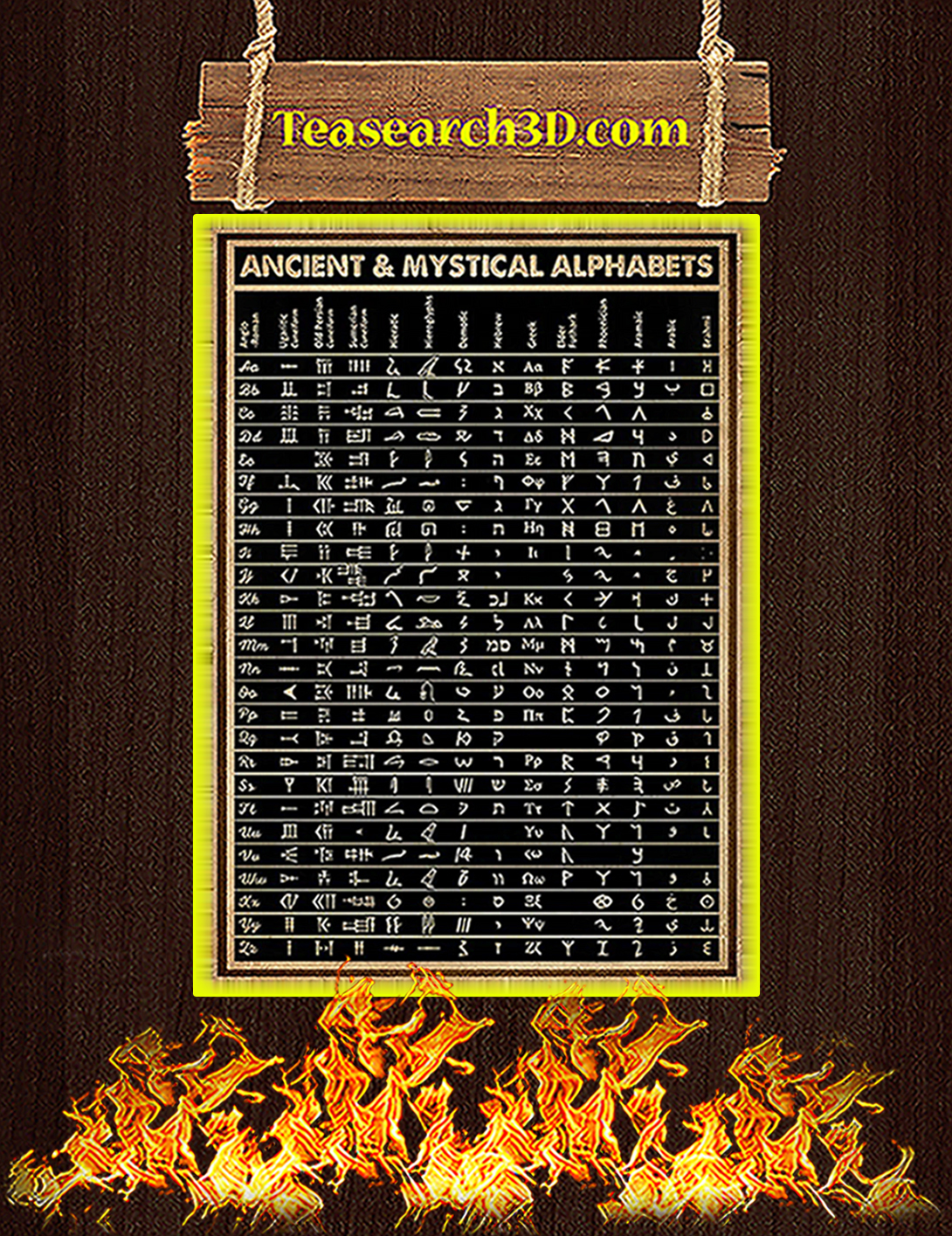 Ancient and mystical alphabets poster A2