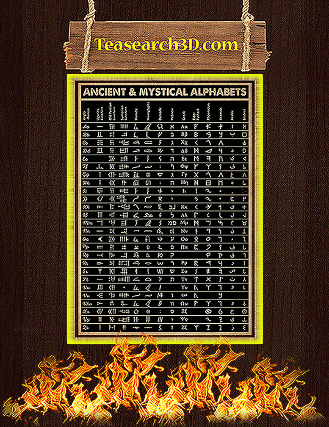 Ancient and mystical alphabets poster A3
