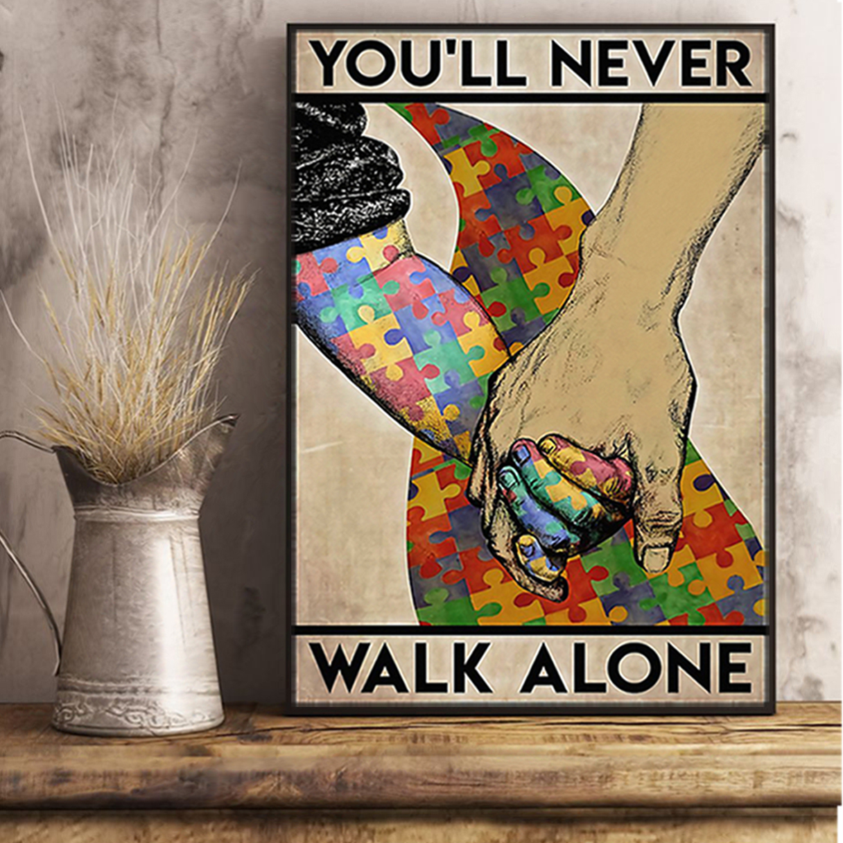Autism you'll never walk alone poster A3