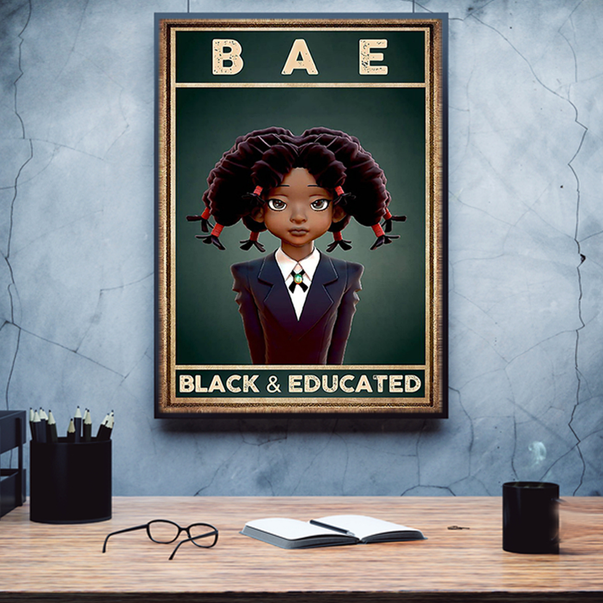 BAE black and educated poster A2