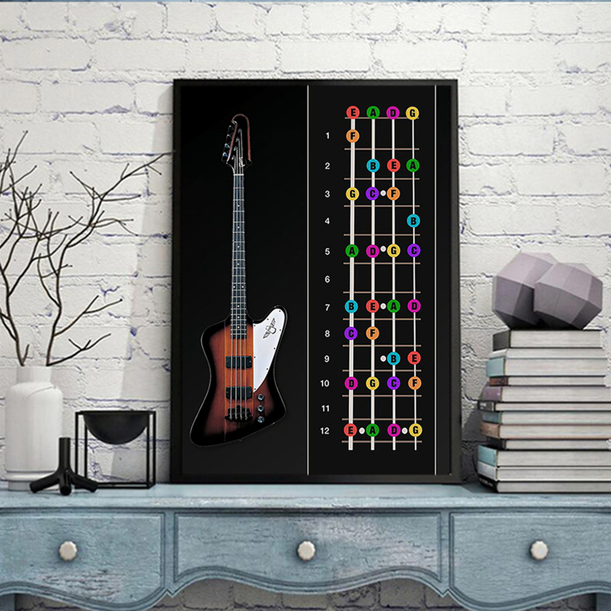 Bass guitar color notes poster A1