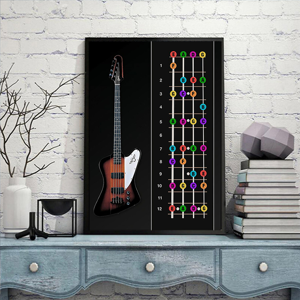 Bass guitar color notes poster A3