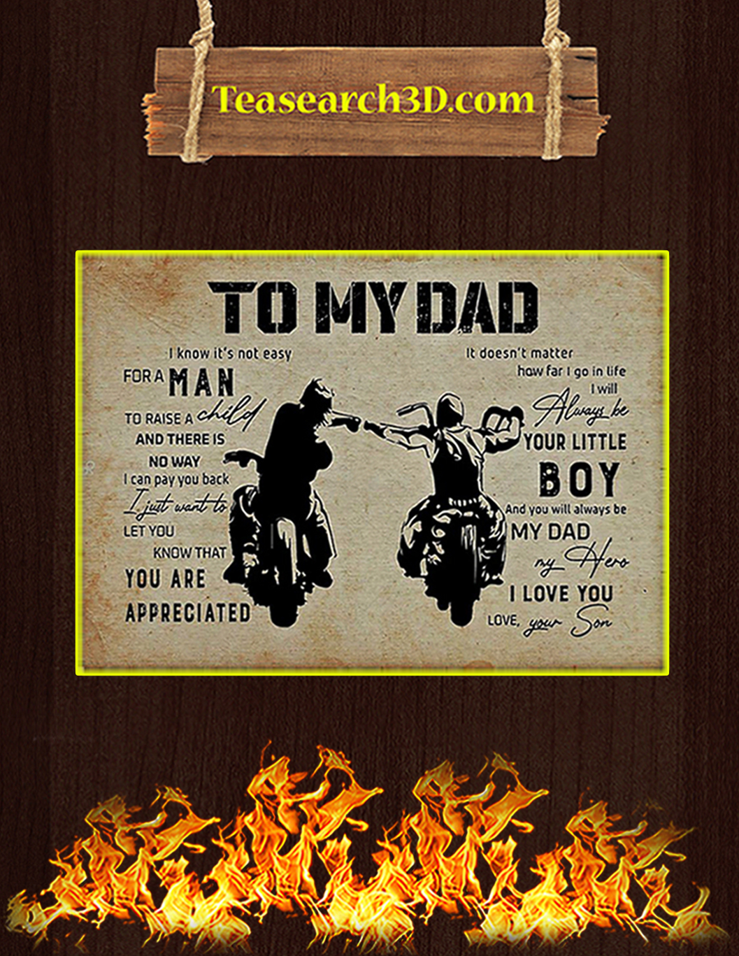 Biker son to my dad poster A1