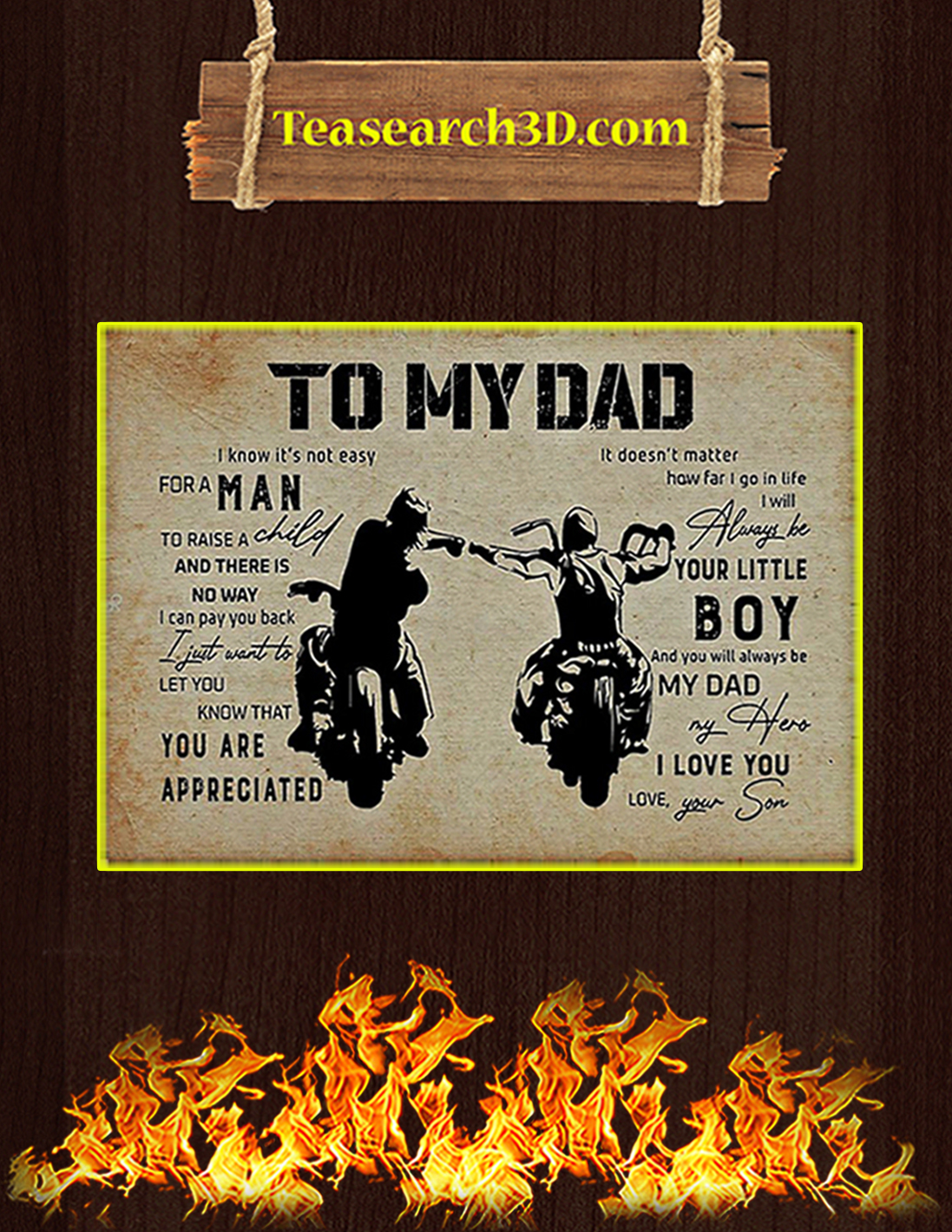 Biker son to my dad poster A2