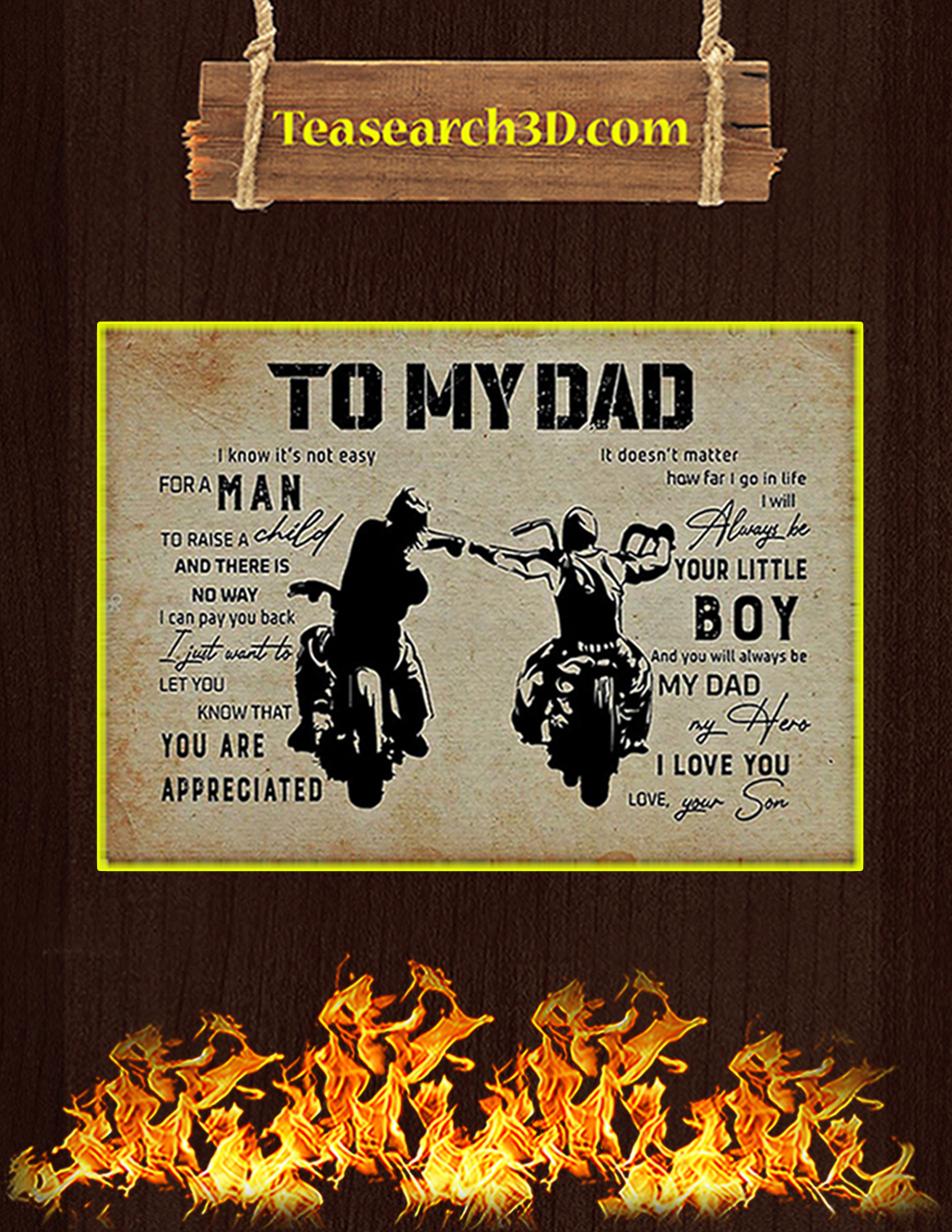 Biker son to my dad poster A3