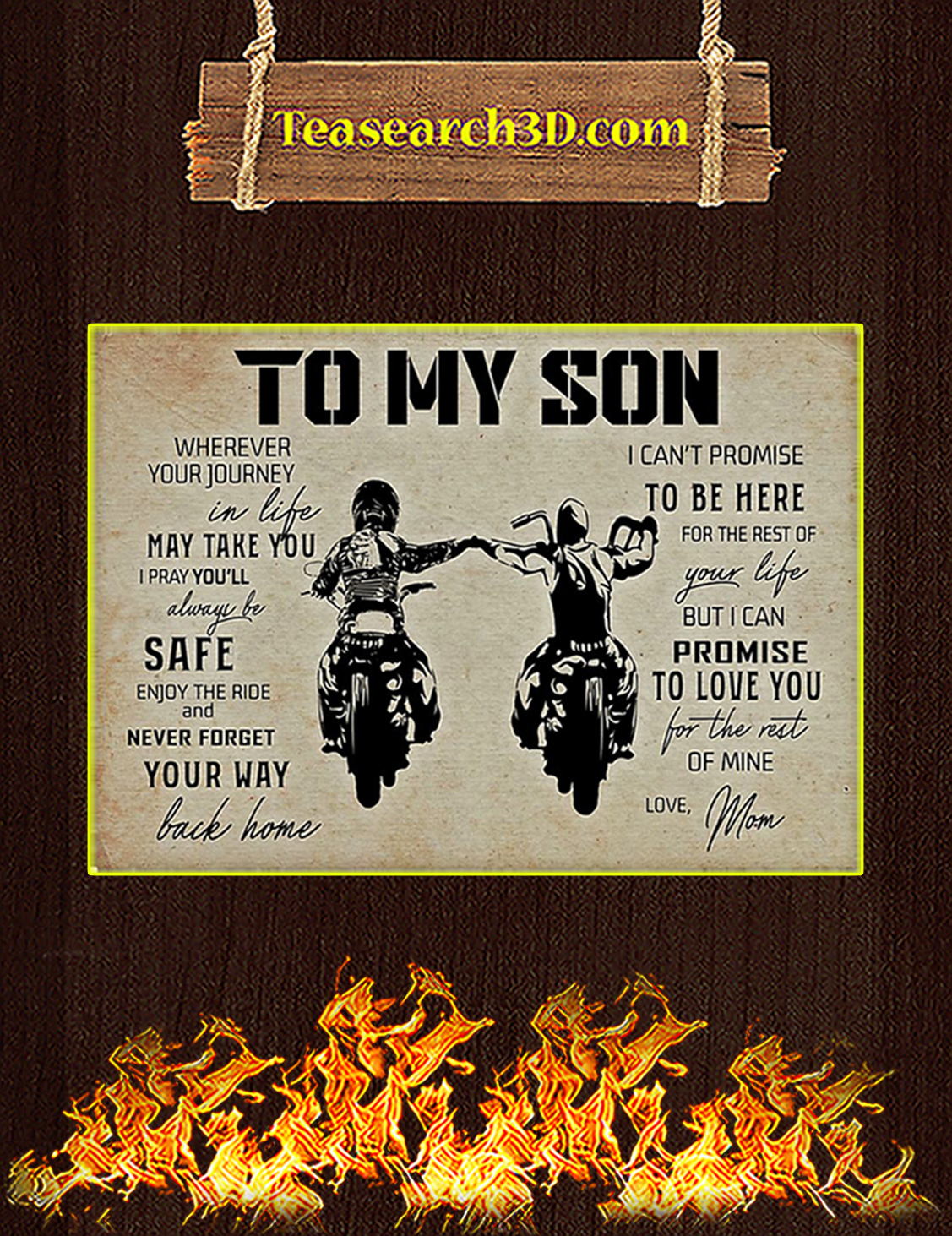 Biker to my son mom poster A1