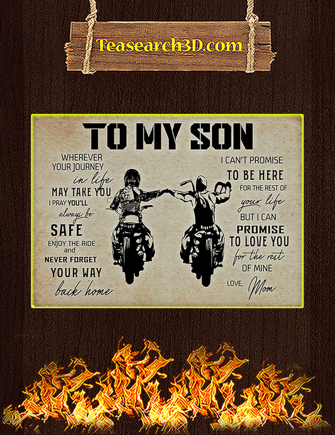 Available Biker To My Son Mom Poster