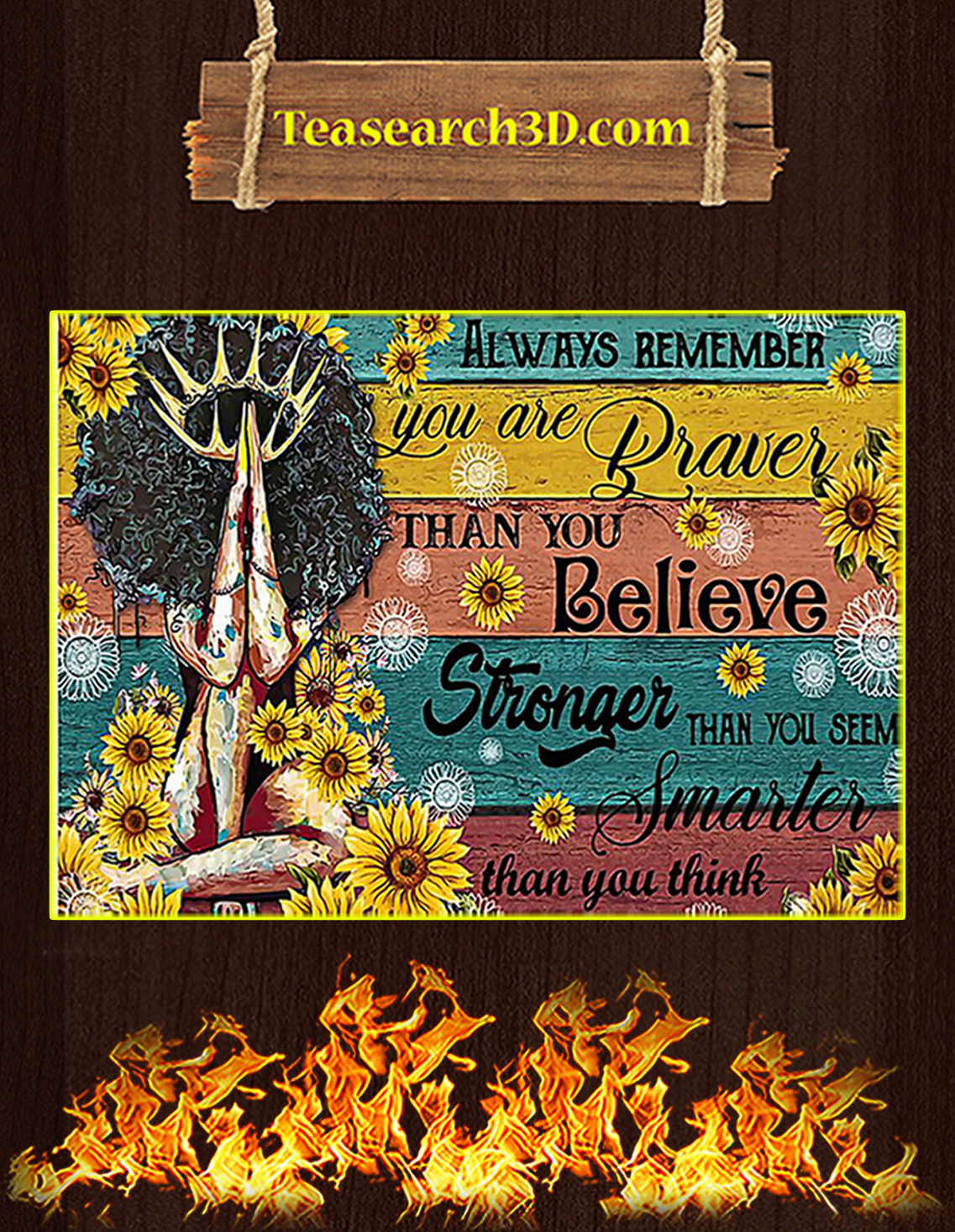 Black girl always remember you are braver than you believe poster A3
