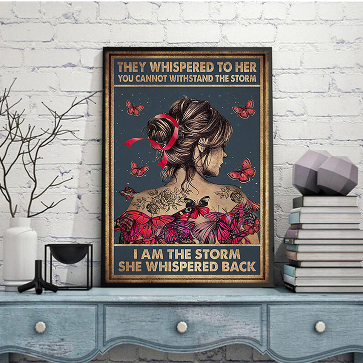 Breast cancer butterfly girl i am the storm poster A1