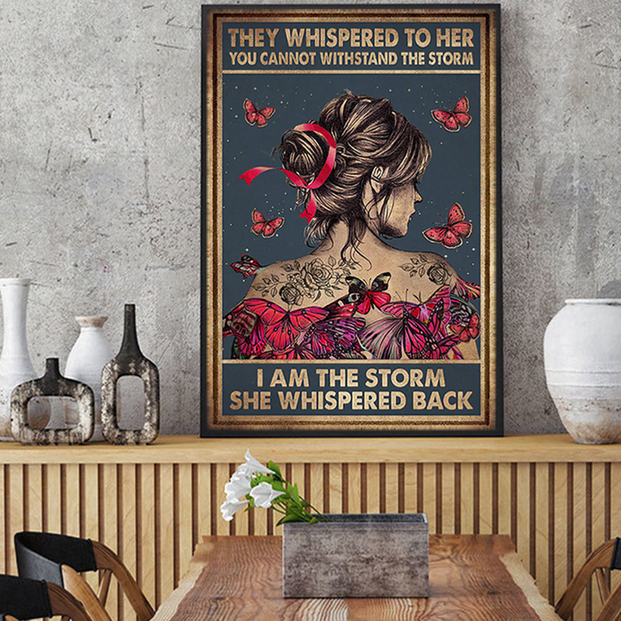 Breast cancer butterfly girl i am the storm poster A3