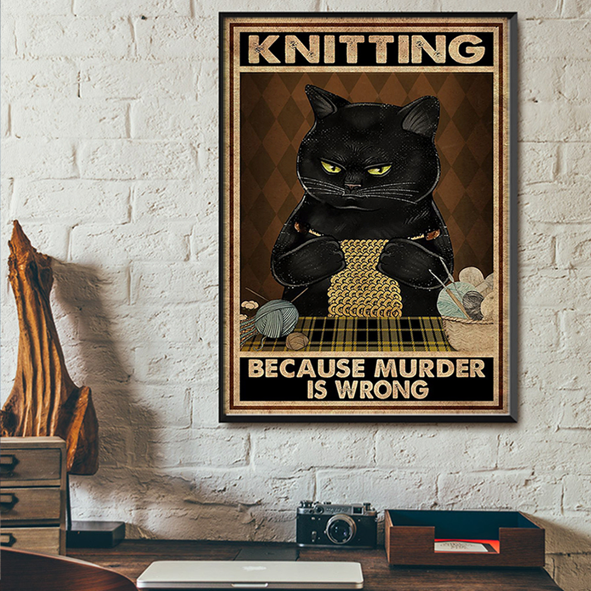 Cat kniting because murder is wrong poster A2