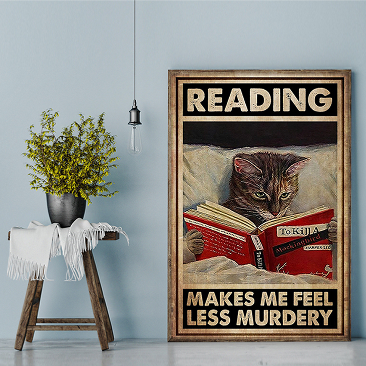 Cat reading makes me feel less murdery poster A1