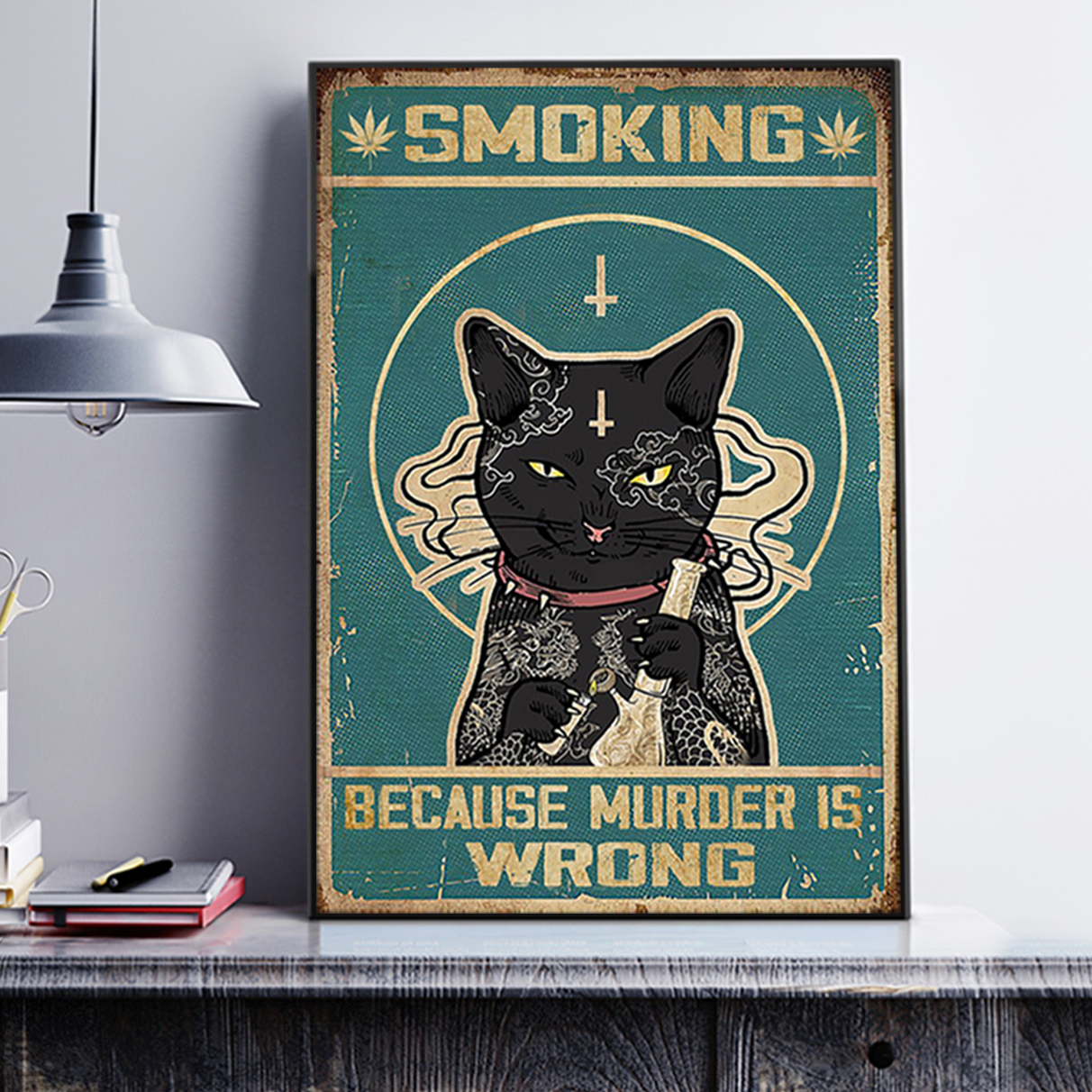 Cat smoking because murder is wrong poster A2