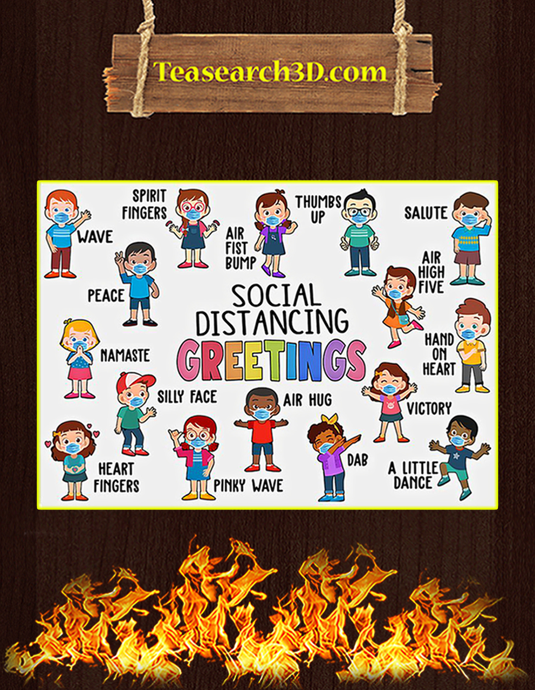 Classroom Social Distancing Greetings Poster A1