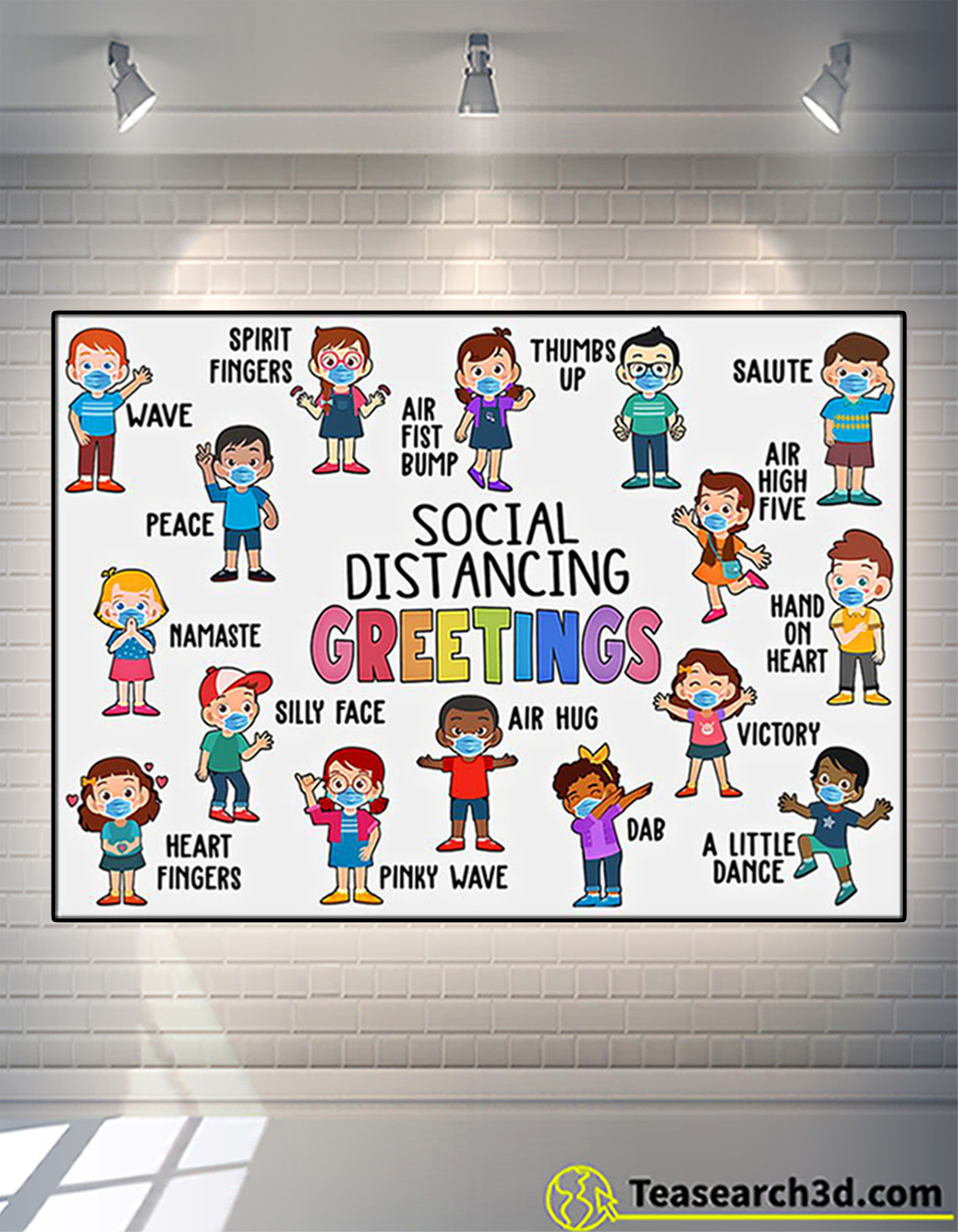 Classroom Social Distancing Greetings Poster A2