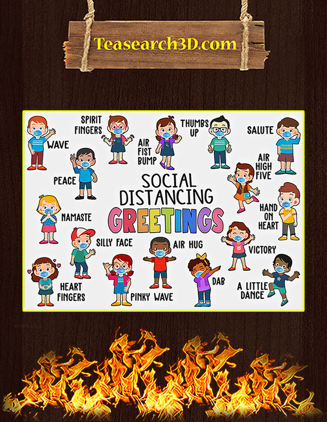 Classroom Social Distancing Greetings Poster A3