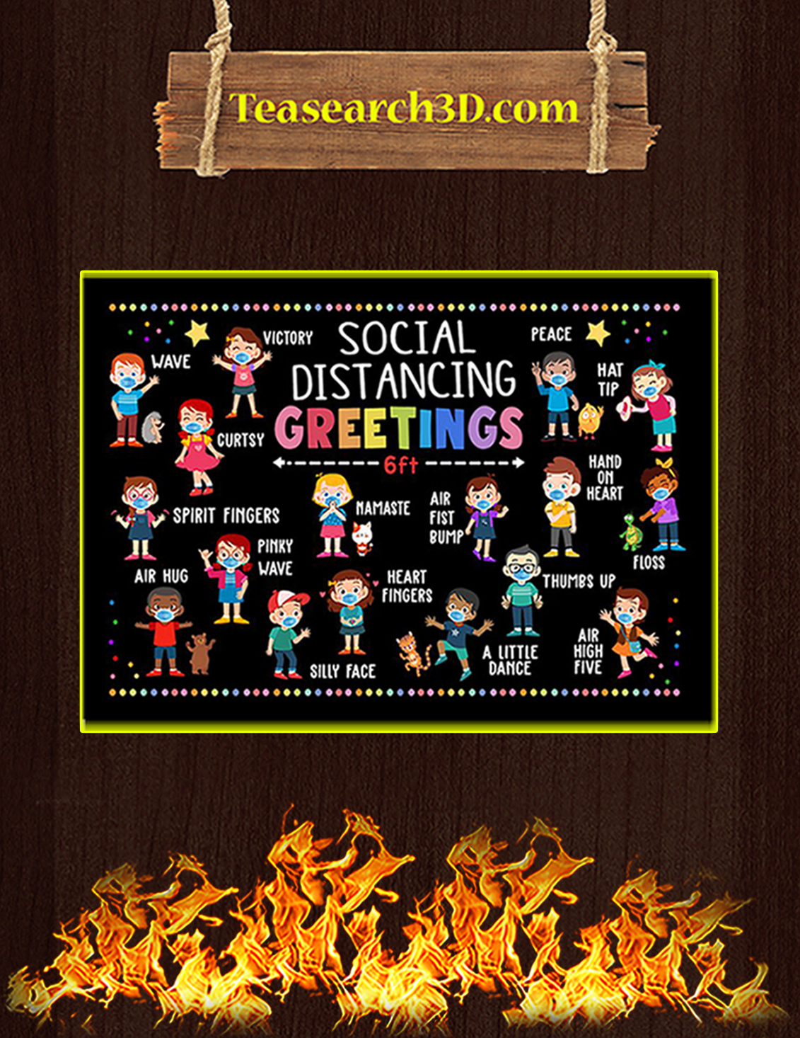 Classroom social distancing greetings 6ft poster A3