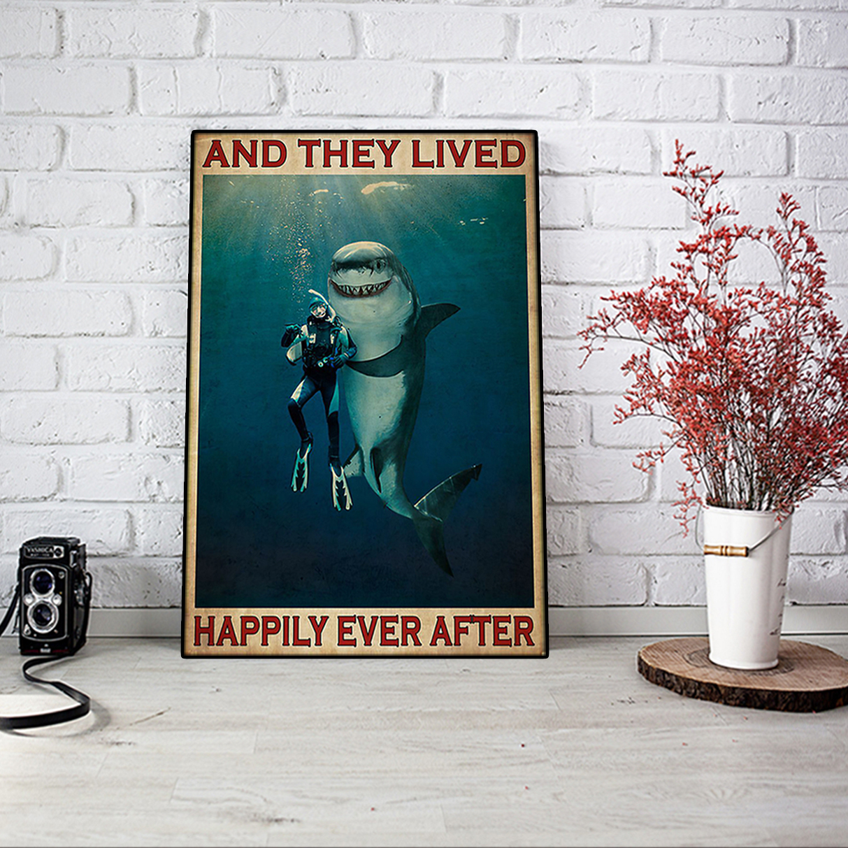 Diver and shark and they lived happily ever after poster A1