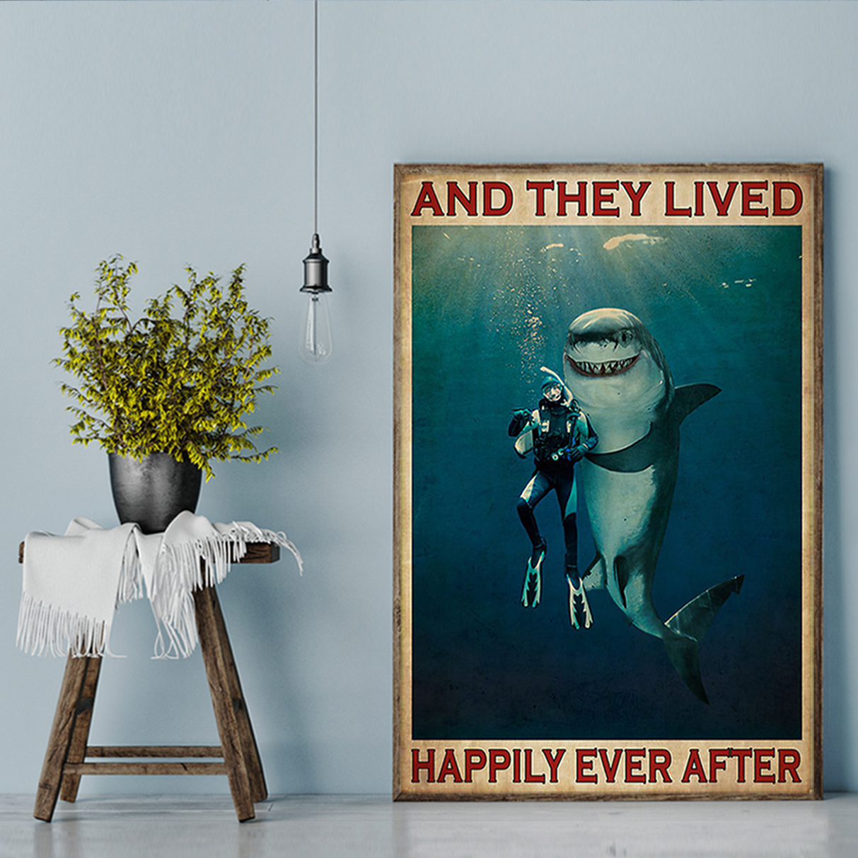 Diver and shark and they lived happily ever after poster A2