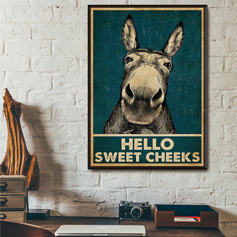 Donkey hello sweet cheeks poster A3