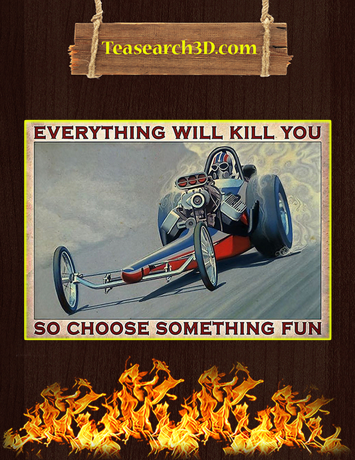 Drag racing so choose something fun poster A3