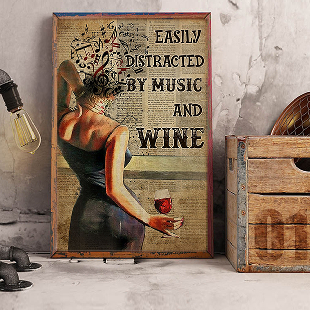 Easily distracted by music and wine book poster A1