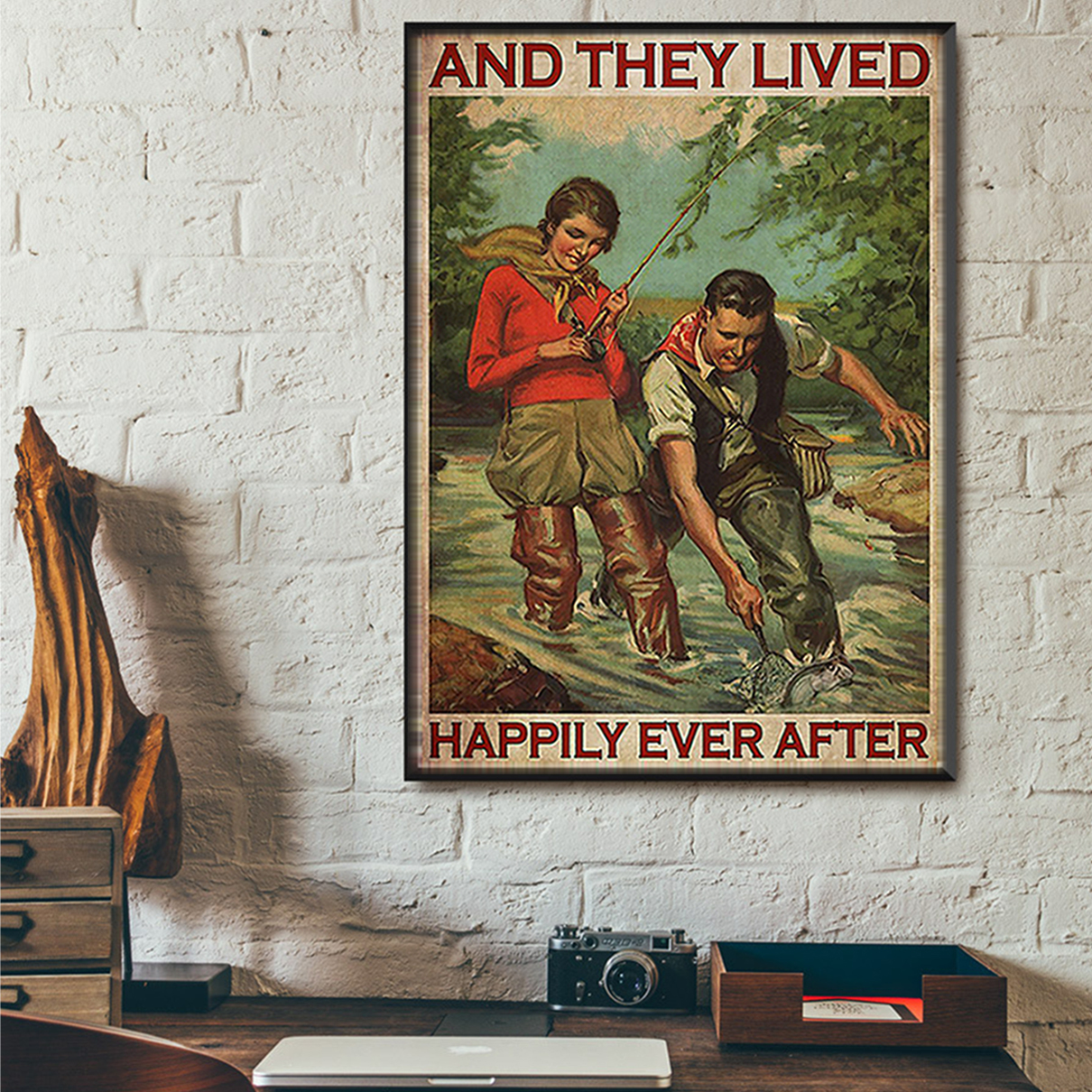 Fishing couple and they lived happily ever after poster A2