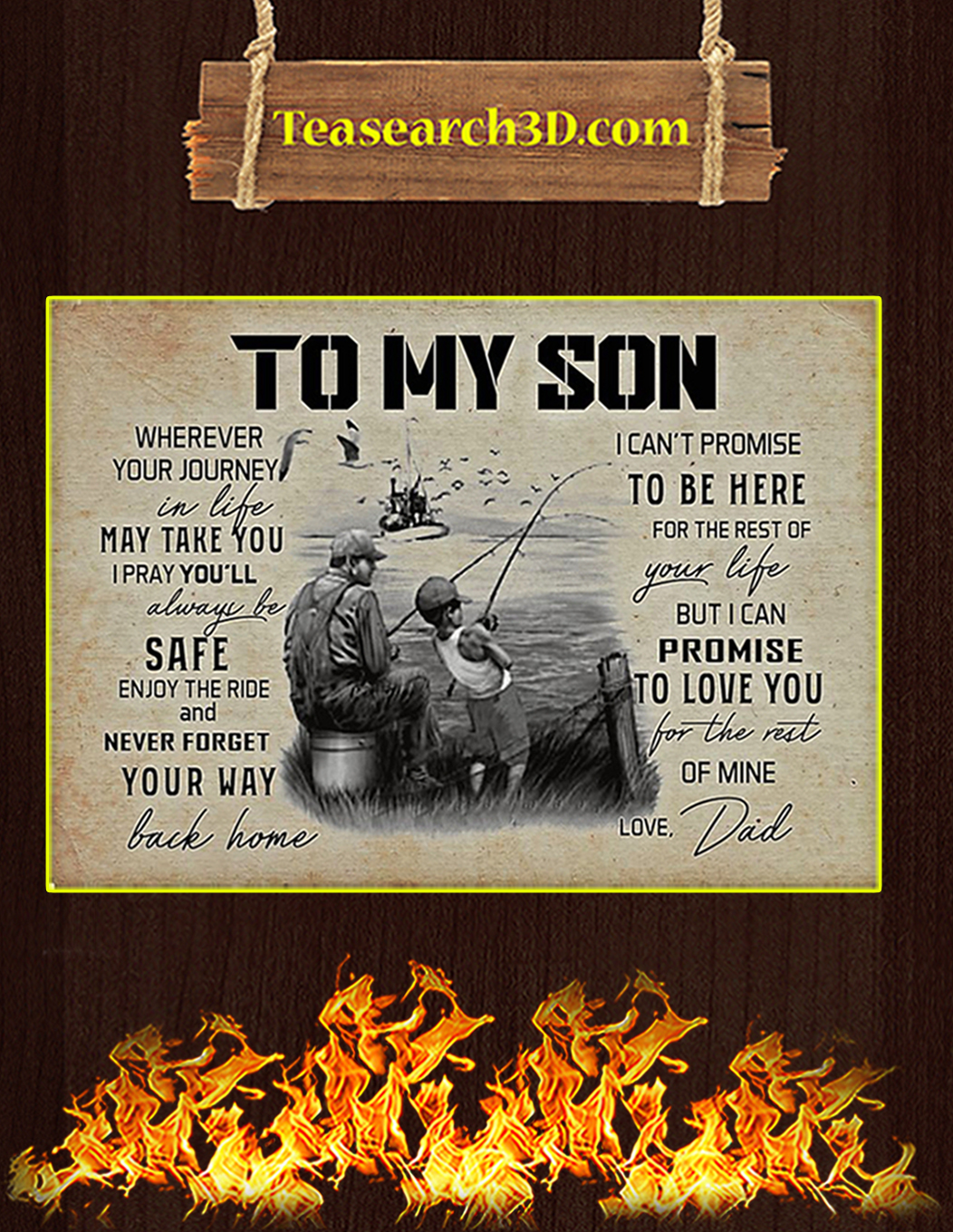 Fishing to my son wherever your journey in life poster A1