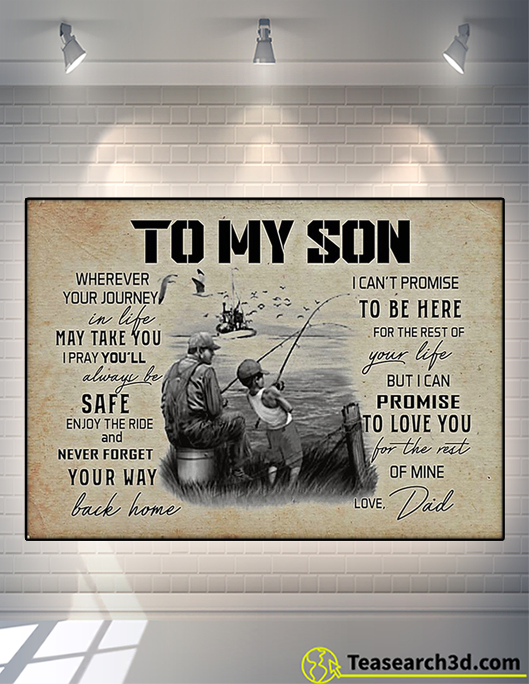 Fishing to my son wherever your journey in life poster A2